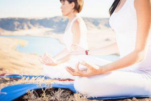 Illustration of people meditate