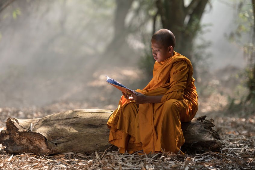 novice monk learning in thailand.