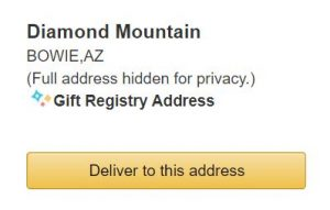 Shipping address as shown in Amazon